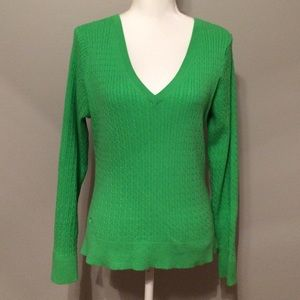 Lilly Pulitzer Green Cable Knit Sweater Size Large